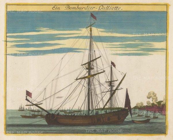 "Weigel: Bombadier Galliotte. c1720. An original colour antique copper engraving. 16"" x 13"". [NAVp24]"