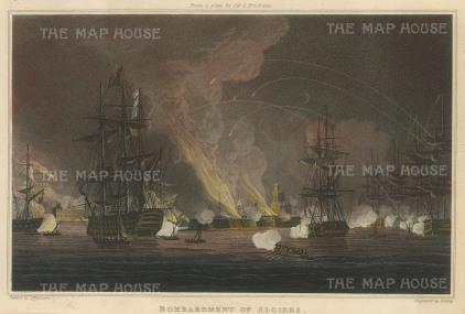 """Ralfe: Bombardment of Algiers. 1820. An original colour antique aquatint. 9"""" x 6"""". [NAVp25]"""
