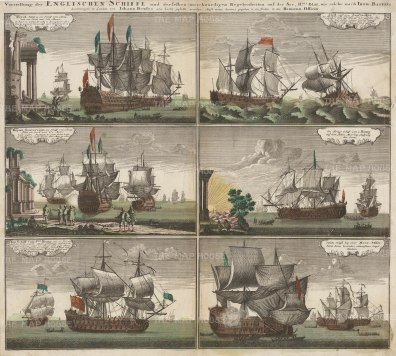 British Ships: Six views including the Royal Anna, the Royal Sovereign and different 2nd and 3rd rates.