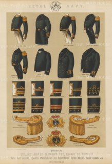Royal Navy: 8 uniforms with examples of rank braiding, epaulettes and cap badges.