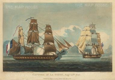 """Ralfe: Capture of La Didon. 1818. An original colour antique aquatint. 9"""" x 6"""". [NAVp39]"""