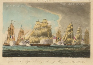 "Ralfe: Commencement of Captain Schonberg's action off Madagascar May 1811. 1820. An original antique aquatint. 9"" x 6"". [NAVp52]"