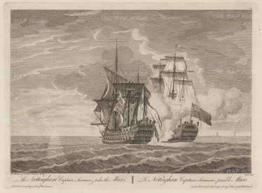"Sayer: HMS Nottingham capturing the Mars. 1774. An original antique copper engraving. 17"" x 12"". [NAVp81]"
