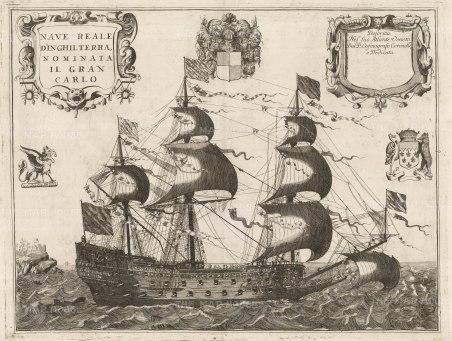 "Coronelli: HMS Royal Charles. 1692. An original antique copper engraving. 25"" x 17"". [NAVp82]"