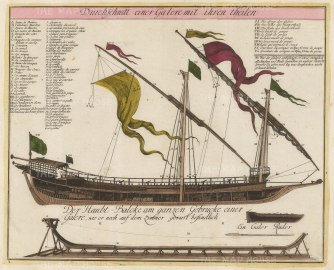 "Weigel: Mediterranean galley. c1720. An original colour antique copper engraving. 16"" x 13"". [NAVp88]"