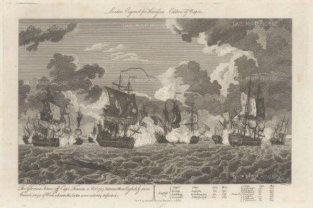 """Harrison: Battle of Cap Francoise. 1786. An original antique copper engraving. 13"""" x9"""". [NAVp8]"""