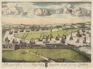 "Kip: Royal Navy at Chatham. 1715. A hand coloured original antique copper engraving. 27"" x 20"". [NAVp92]"