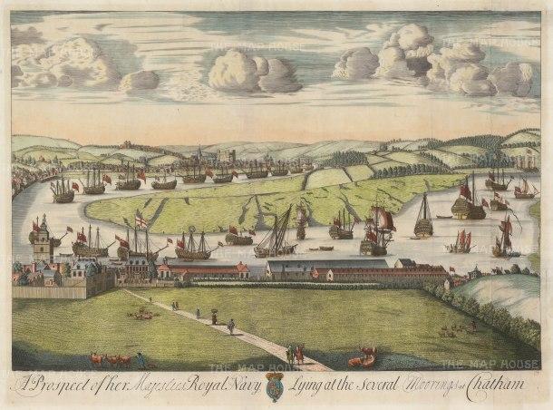 "Kip: Royal Navy at Chatham. 1715. A hand coloured original antique copper engraving. 27"" x 20"". [NAVp92]"