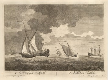 Set of Four. Ships at Sea. A Calm, a Fresh Gale, a Squall and a Shipwreck.