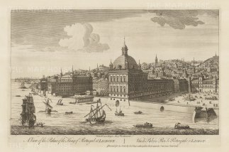 Ribiera Palace (Praca do Comercio): View from across the Tagus river of the palace destroyed in the earthquake of 1755 and now the Praca do Comercio.