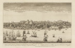 Panorama from across the Tagus: Showing Lisbon as it was before the earthquake of 1755 which largely destroyed the old town.