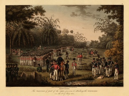 Rangoon: The Army in formation with the earliest depiction of a Congreve Rocket. First Anglo Burmese War.