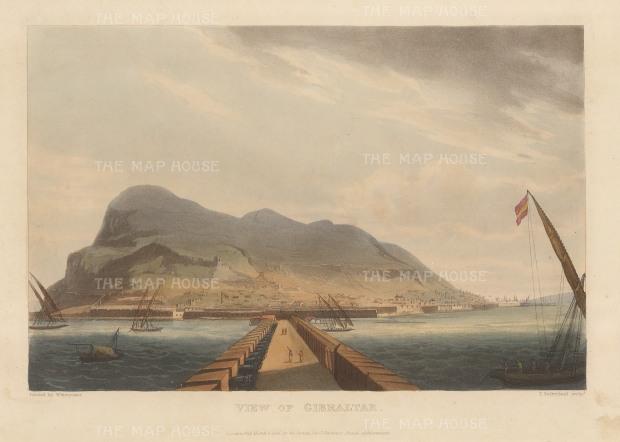 "Jenkins: Gibraltar. 1816. An original colour antique aquatint. 11"" x 8"". [SPp1032]"