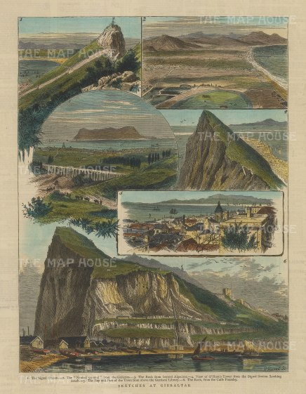 """Graphic Magazine: Gibraltar. 1880. A hand coloured original antique wood engraving. 9"""" x 13"""". [SPp1035]"""