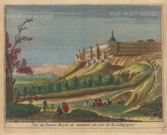 "Van der Aa: Royal Palace, Madrid. 1727. A hand coloured original antique copper engraving. 6"" x 5"". [SPp1042]"