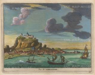 "Van der Aa: Rock of Gibraltar. 1727. A hand coloured original antique copper engraving. 6"" x 5"". [SPp1045]"