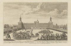 """Sayer: The Royal Palace, Madrid. 1774. An original antique copper engraving. 18"""" x 12"""". [SPp1057]"""