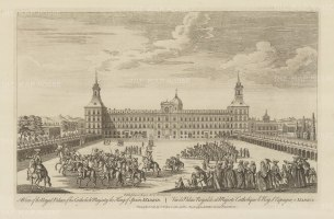 "Sayer: The Royal Palace, Madrid. 1774. An original antique copper engraving. 18"" x 12"". [SPp1057]"