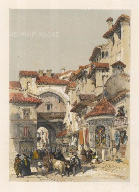 "Roberts: Gate of Vivarrambla, Granada. 1837. A hand coloured original antique lithograph. 13"" x 17"". [SPp757]"