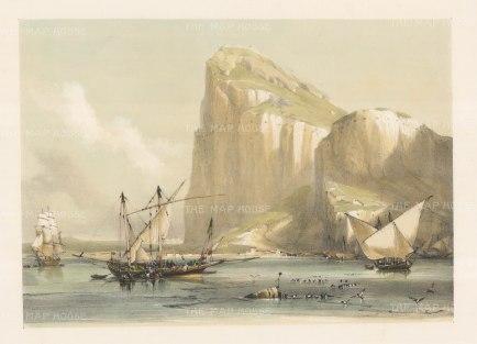 "Roberts: Rock of Gibraltar. 1840. An original colour antique lithograph. 17"" x 13"". [SPp910]"