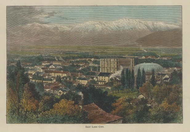 Salt Lake City: Bird's eye view looking towards the Wasatch range of the Rocky Mountains.