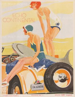 Continental Record Tyres advertisement by the German Poster artist Jupp Weirtz.