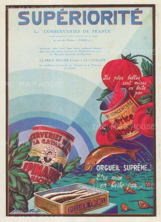 "L'Illustration: La Price Pellier Freres & La Cataline. 1939. An original vintage chromolithograph. 9"" x 12"". [DECp2088]"