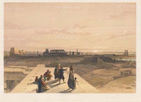 Ruins of Karnak: Panoramic view of the temple complex and sacred lake from the Tomb of Horemheb.