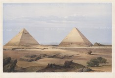 Pyramids of Geezeh: Magnificent view of the Great pyramid Cheops, second pyramid Cephren and the Sphynx.