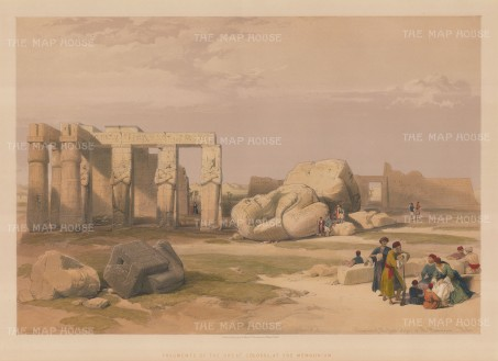 Memnon. The Great Colossi and fragments at the Memnonium.