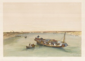 Slave Boat on the Nile. View looking towards the Pyramids of Dashour and Saccara.