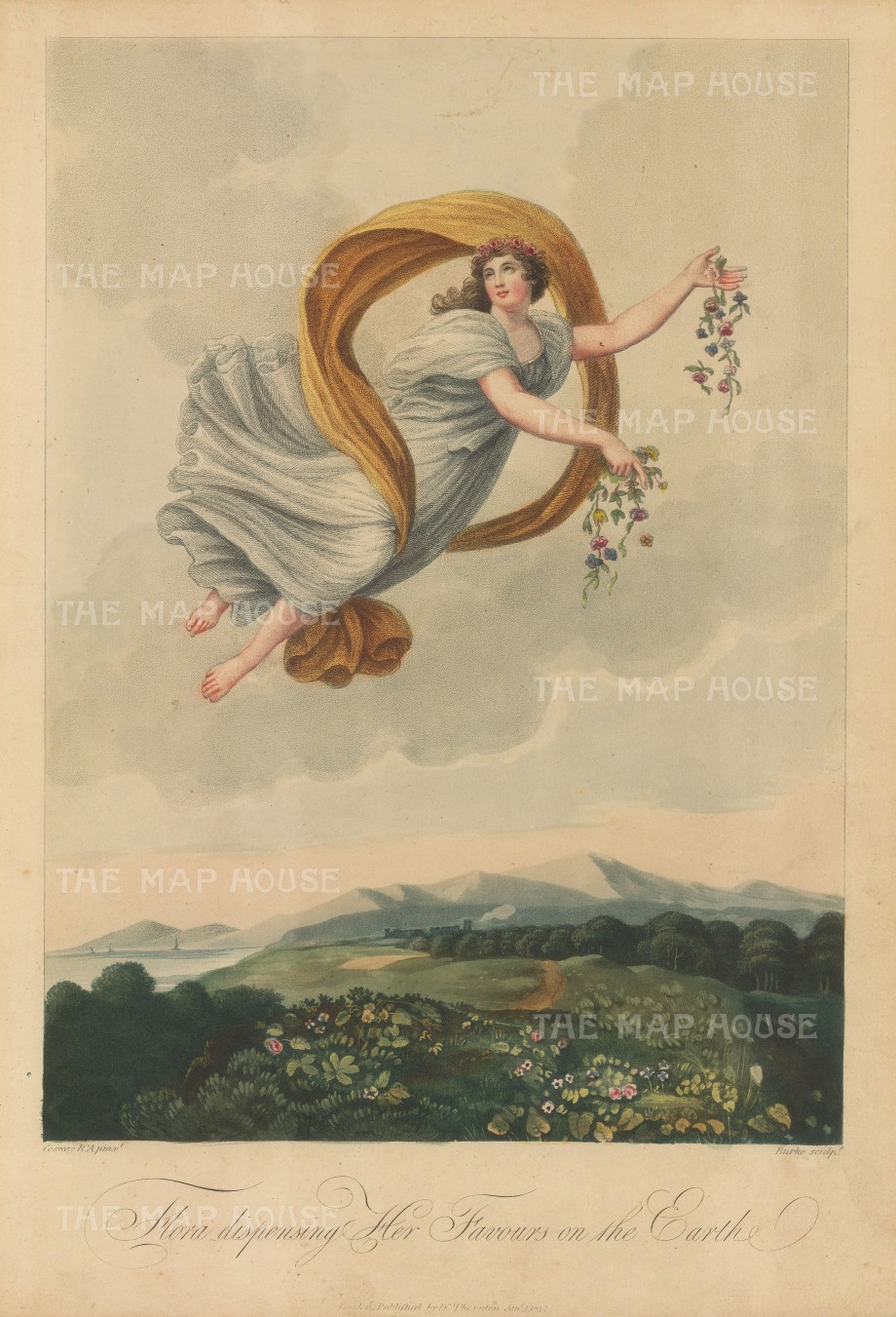 "Thornton: Flora Dispensing Her Favours  on the Earth. 1812. An original colour antique mixed-method engraving. 9"" x 13"". [FLORAp3136]"