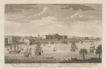 Fort William: View of the Old Fort and Maidan on the eastern banks of the Hooghly river.