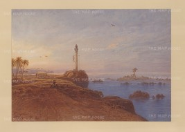 Galle: View along the coast on the southwestern tip of Sri Lanka. Looking towards a lighthouse.