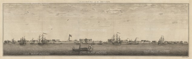 Calcutta: Contemporary panorama of the river port of Calcutta (Kolkata), showing British forts.