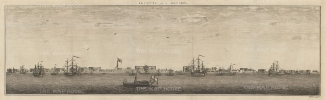 Contemporaneous panorama of Calcutta port on the Hooghly River with British ships at anchor.