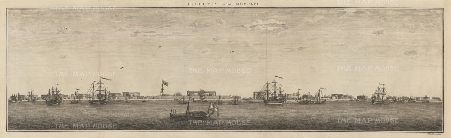 Calcutta: Contemporary panorama of the river port showing British forts.