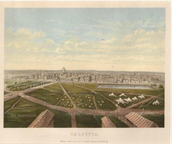 "Collins: Calcutta (Kolkata). c1880. An original antique chromolithograph. 10"" x 8"". [INDp1322]"