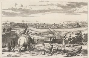 Masulipatam (Bandar): Panorama of the city and port in c1695. The East India Co was established here in 1611.