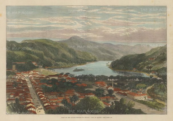 """Illustrated London News: Kandy. 1882. A hand coloured original antique wood engraving. 14"""" x 10"""". [INDp1377]"""