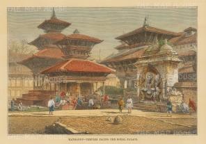 Kathmandu: Kal Bhairav shrine in Hanuman Dhoka (Durbar square).