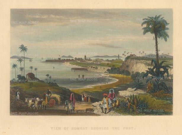 "Allom: Bombay (Mumbai). c1840. A hand coloured original antique steel engraving. 8"" x 6"". [INDp1398]"