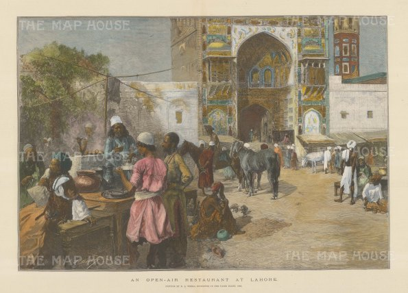 Lahore: View of an Open Air restaurant. After Edwin Weeks.
