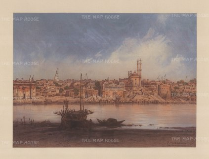 Benares: View from Katasar on the Ganges riverbank from Manikarnika Ghat to Aurangzab Mosque. Drawn from life during Hildebrandt's 'round-the-world' voyage.