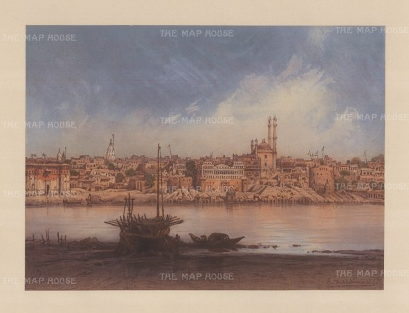 Benares (Varanasi): View from Katasar on the Ganges riverbank from Manikarnika Ghat to Aurangzab Mosque. Drawn from life during Hildebrandt's 'round-the-world' voyage.