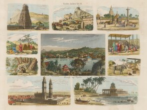 Kandy: Panoramic view surrounded by 9 vignettes around the island.