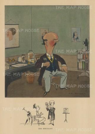 "Bateman: The Specialist. c1930. A hand coloured original vintage lithograph. 7"" x 10"". [LDNp10163]"