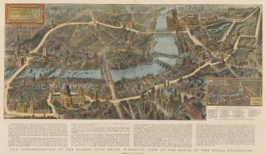 Bird's-eye from London Bridge to St James's: With key and text relating to the Royal Procession on Jubilee Day. After the architectural artist Henry Brewer.