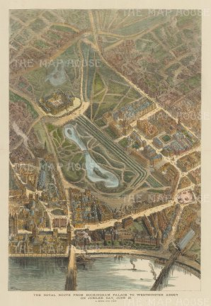 Bird's Eye view of the Royal Route: Buckingham Palace to Westminster Abbey on Jubilee Day. After the architectural artist Henry Brewer.