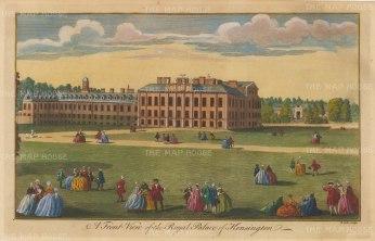 "Maitland: Kensington Palace. 1756. A hand coloured original antique copper engraving. 13"" x 8"". [LDNp10528]"